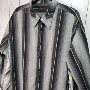 Ben Sherman Striped Multi Fabric Button Up Shirt